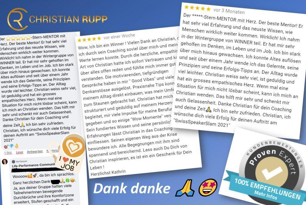 Erfahrung Christian Rupp Life Performance Mentoring. Testimonials und Rezensionen von Kundinnen und Kunden.