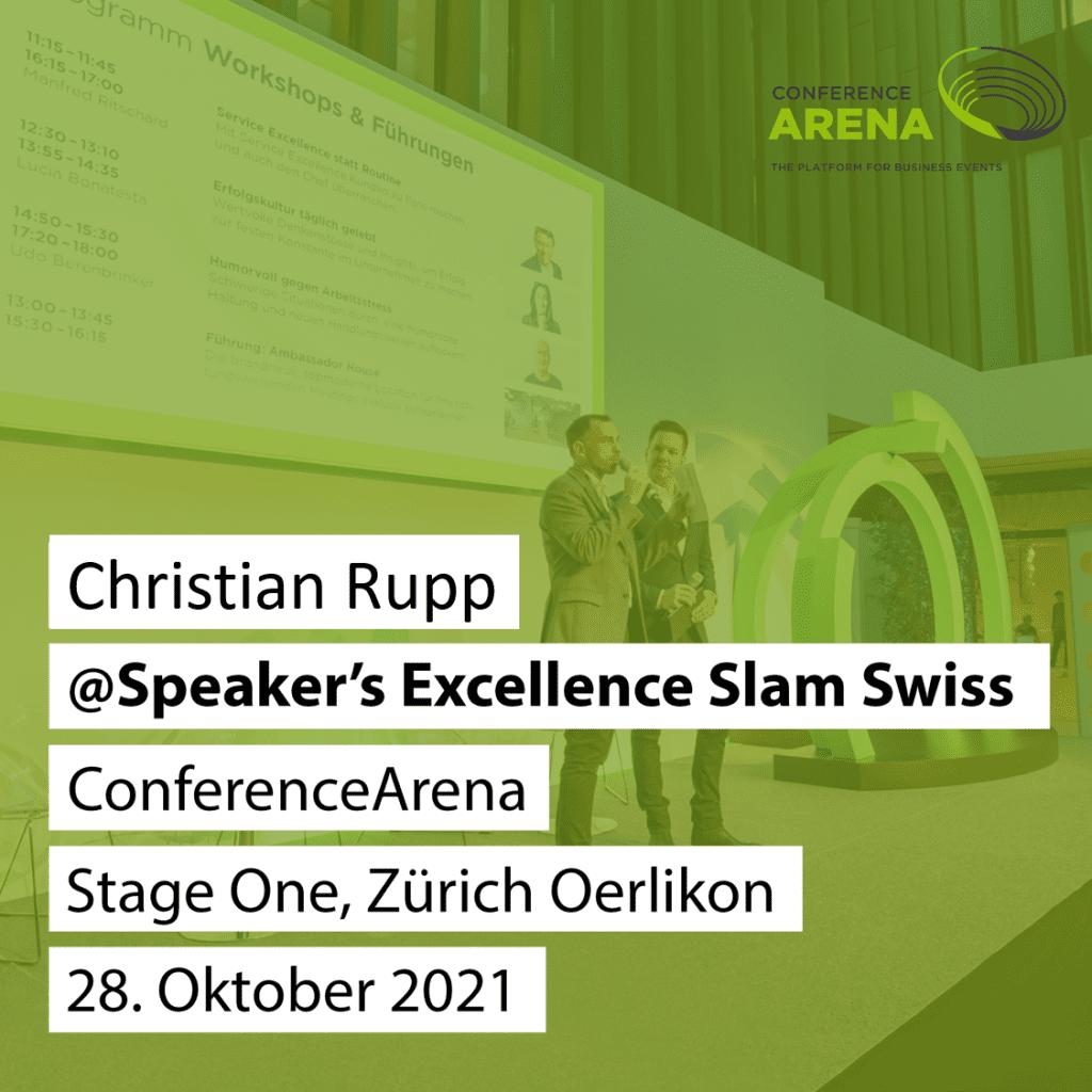 Christian Rupp auf der Bühne bei Conference Arena Speakers Excellence SLAM Zürich 2021